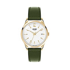 Henry London - Unisex green 'Chiswick' leather strap watch