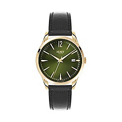 Henry London - Unisex black 'Chiswick' leather strap watch