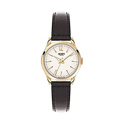 Henry London - Ladies black 'Westminster' leather strap watch