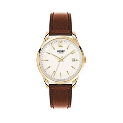 Henry London - Unisex brown 'Westminster' leather strap watch