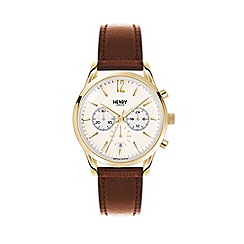 Henry London - Unisex brown 'Westminster' chronograph leather strap watch