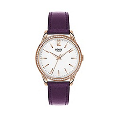 Henry London - Ladies purple 'Hampstead' leather strap watch