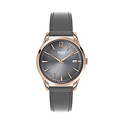 Henry London - Ladies grey 'Finchley' leather strap watch