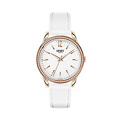 Henry London - Ladies white 'Pimlico' leather strap watch