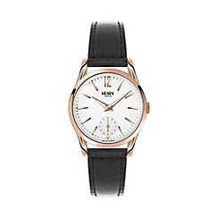 Henry London - Ladies black 'Richmond' leather strap watch