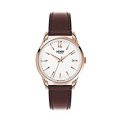 Henry London - Unisex brown 'Richmond' leather strap watch