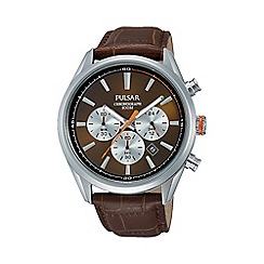Pulsar - Men's brown chronograph strap watch pt3723x1