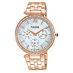 Pulsar - Ladies rose gold plated multi dial bracelet watch
