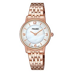 Pulsar - Ladies rose gold plated analogue bracelet watch prw028x1