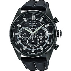 Pulsar - Men's black ION plated solar chronograph strap watch