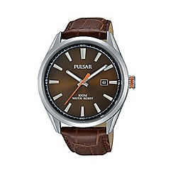 Pulsar - Men's brown analogue strap watch ps9379x1