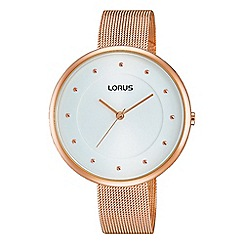 Lorus - Ladies rose gold plated mesh bracelet watch