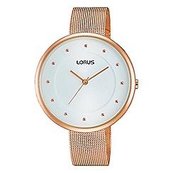 Lorus - Ladies rose gold plated mesh bracelet watch rg288jx9