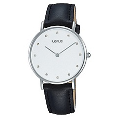 Lorus - Ladies white case brown leather strap watch