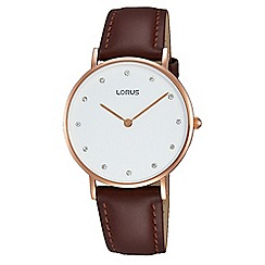 Lorus - Ladies rose gold case black leather strap watch