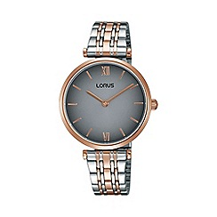 Lorus - Ladies rose gold & white two tone bracelet watch