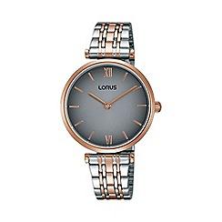 Lorus - Ladies rose gold & white two tone bracelet watch