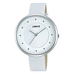 Lorus - Ladies stainless steel white leather strap watch