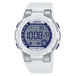 Lorus - Kids sporty digital chronograph watch on white silicone strap