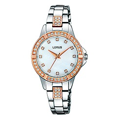 Lorus - Ladies two tone bracelet watch with crystal elements