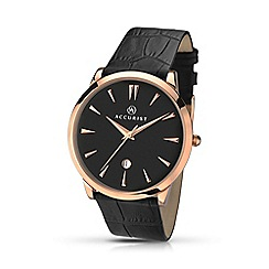 Accurist - Men's black leather strap black dial watch 7029.01