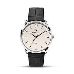 Accurist - Men's black leather strap white dial watch 7028.01