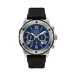 Bulova - Men's stainless steel with black silicone strap watch