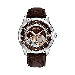 Bulova - Men's stainless steel leather strap watch 96a120