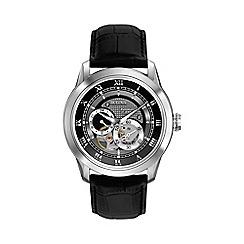 Bulova - Men's stainless steel leather strap watch