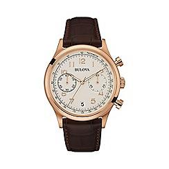 Bulova - Men's rose gold IP leather strap watch