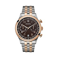 Bulova - Men's rose gold IP bicolour bracelet watch 98b248