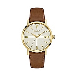 Bulova - Men's yellow gold IP stainless steel leather strap watch