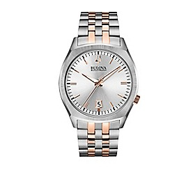 Bulova - Men's two tone stainless steel case and marquis style bracelet watch