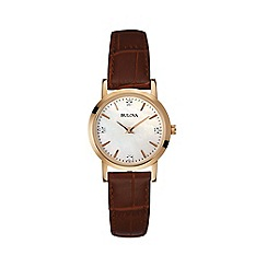 Bulova - Ladies rose gold IP leather strap watch