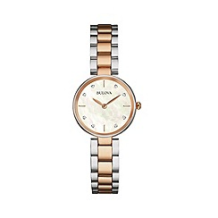 Bulova - Ladies rose gold IP bicolour stainless steel case and bracelet watch