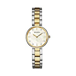 Bulova - Ladies yellow gold IP bicolour stainless steel case and bracelet watch