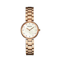 Bulova - Ladies rose gold IP stainless steel case and bracelet watch