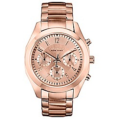 Caravelle New York - Ladies rose gold IP chronograph watch with bracelet strap 44l115