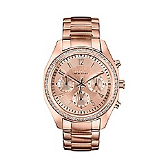 Caravelle New York - Ladies rose gold IP chronograph watch with bracelet strap 44l117