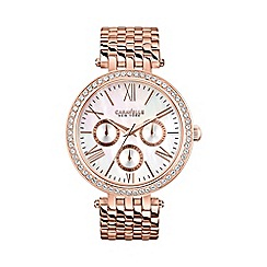 Caravelle New York - Ladies rose gold IP watch with a stylish multi-link bracelet and mother of pearl dial