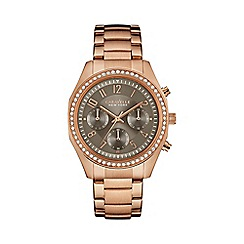 Caravelle New York - Ladies rose gold IP chronograph watch with bracelet strap 44l195