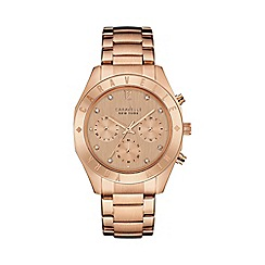 Caravelle New York - Ladies rose gold IP chronograph watch with bracelet strap 44l189