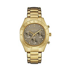 Caravelle New York - Ladies gold IP chronograph watch with bracelet strap 44l191