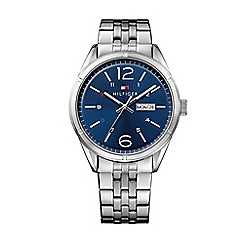 Tommy Hilfiger - Mens grey bracelet watch with blue dial