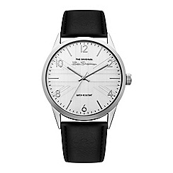 Tommy Hilfiger - Mens silver dial watch with black leather strap