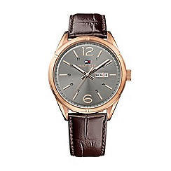 Tommy Hilfiger - Mens grey dial watch with brown leather strap