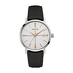 Bulova - Men's stainless steel leather strap watch