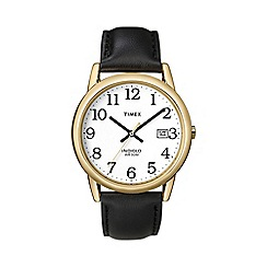 Timex - Men's easy reader white dial with black leather strap watch