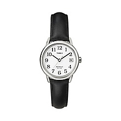Timex - Ladies easy reader white dial with black leather strap watch t2h331