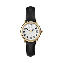 Timex - Ladies easy reader white dial with black leather strap watch